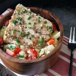 Mahi Mahi with Pineapple Shallot Sauce: served on top of a bed of ...
