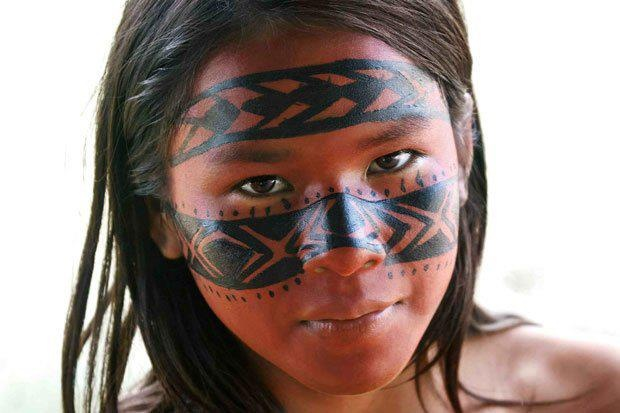Cherokee Warrior Face Paint Black Ad Red
