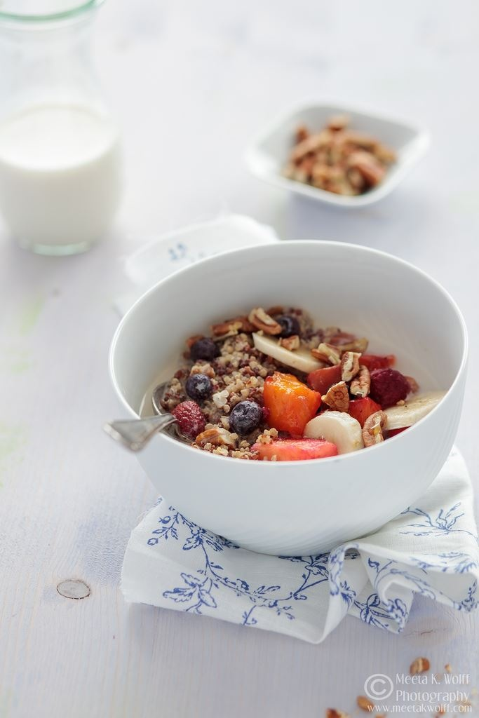 Almond Milk Quinoa Breakfast with Fresh Fruit and Toasted Pecans