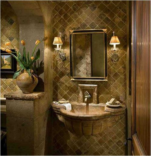 Tuscan bathroom love the stone sink old world for Old world bathroom designs
