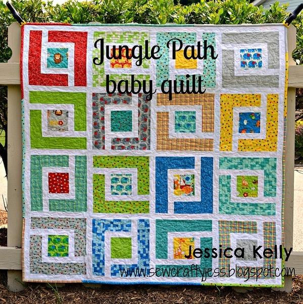 Moda bake shop jungle path baby quilt by sewcraftyjess via flickr
