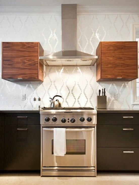 Mixing kitchen cabinet materials home design ideas pinterest Kitchen design mixed cabinets