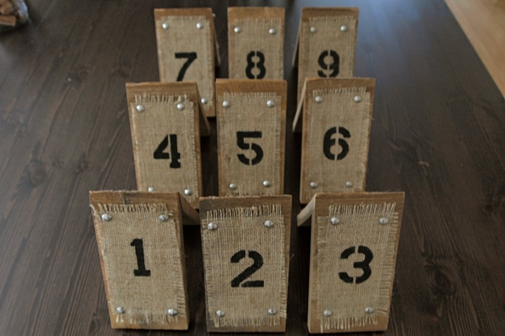 Reclaimed Wood and Burlap Table Numbers