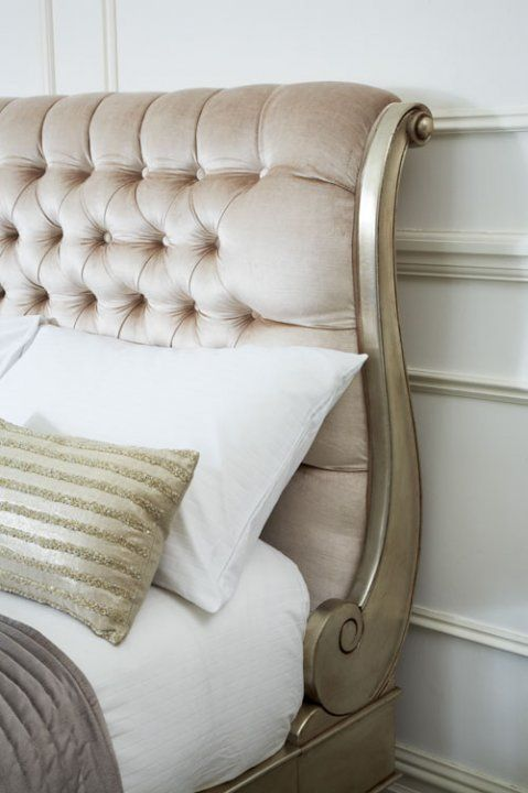 Tufted Headboard On Purple Bed With White Bed Linen And