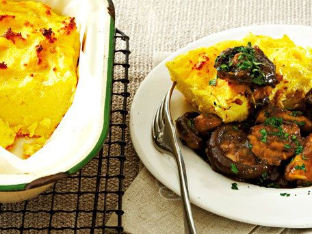 Baked Polenta with Braised Mixed Mushrooms