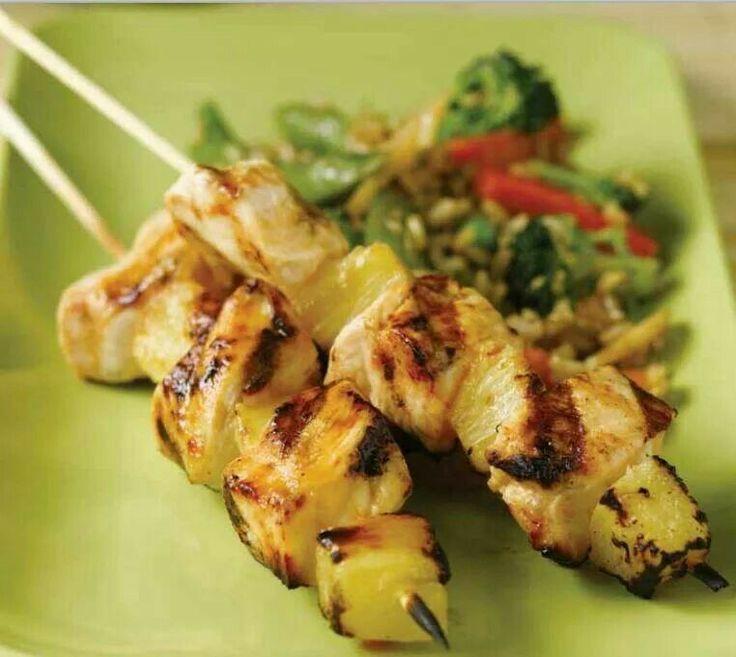 Hawaiian Chicken Kabobs | SHISH KABOBS | Pinterest