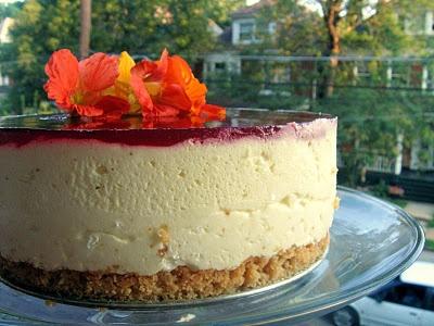 Lemon Mousse Cake with Cranberry Glaze too yummmmy