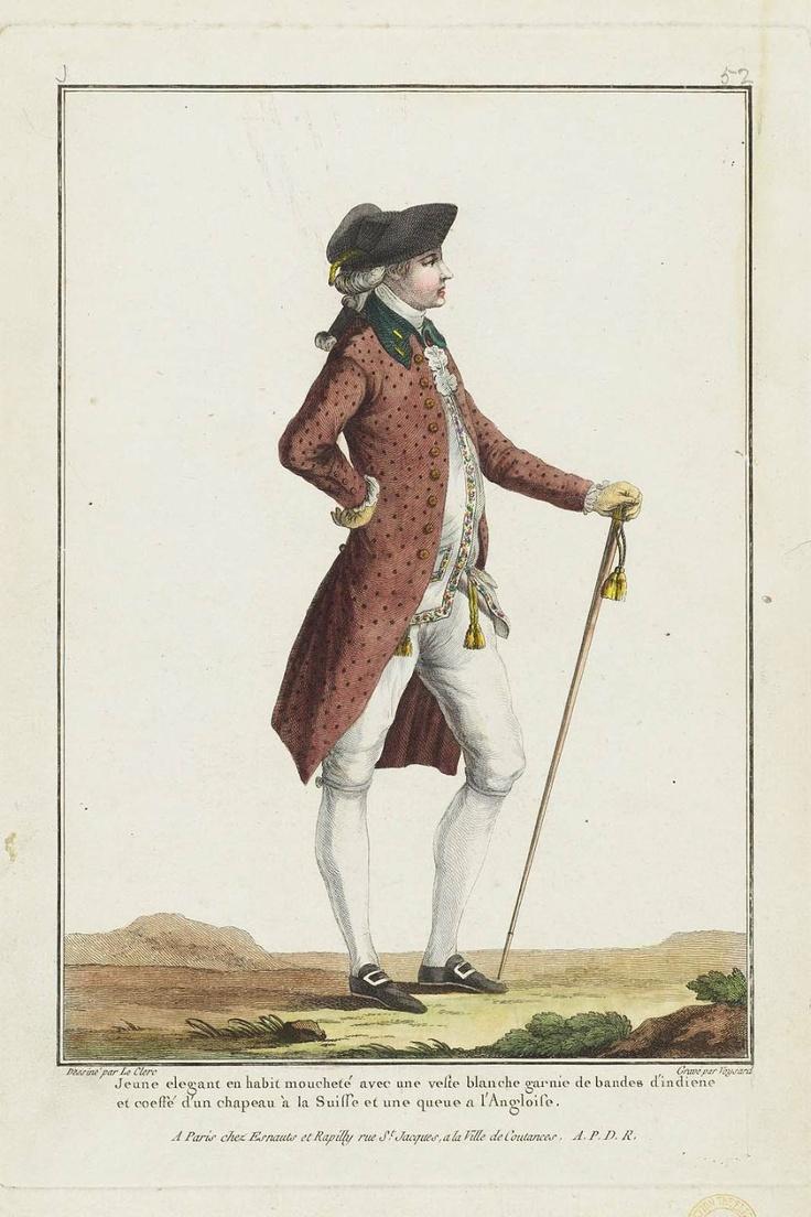 Jeune elegant en habit mouchete avec une veste blanche, 1778