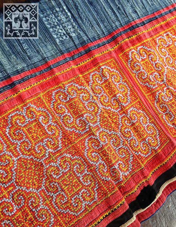 Vintage hmong fabric handmade batik cross stitch by kutchikootribe