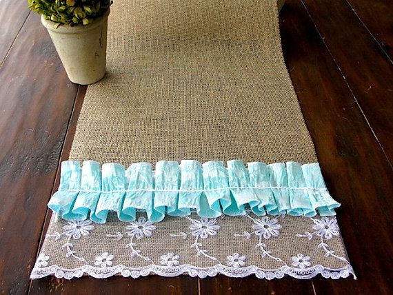 ... turquoise ruffles wedding table runner beach wedding table decor