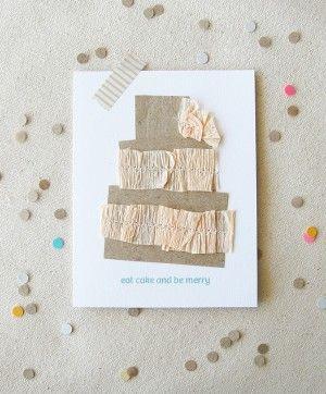 crepe paper wedding cake card