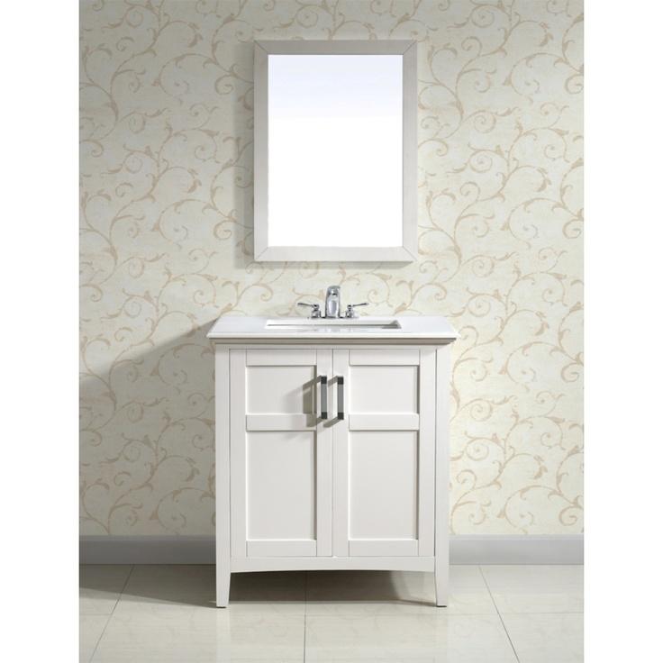 Salem White 30 Inch 2 Door White Quartz Marble Top Bathroom Vanity Set