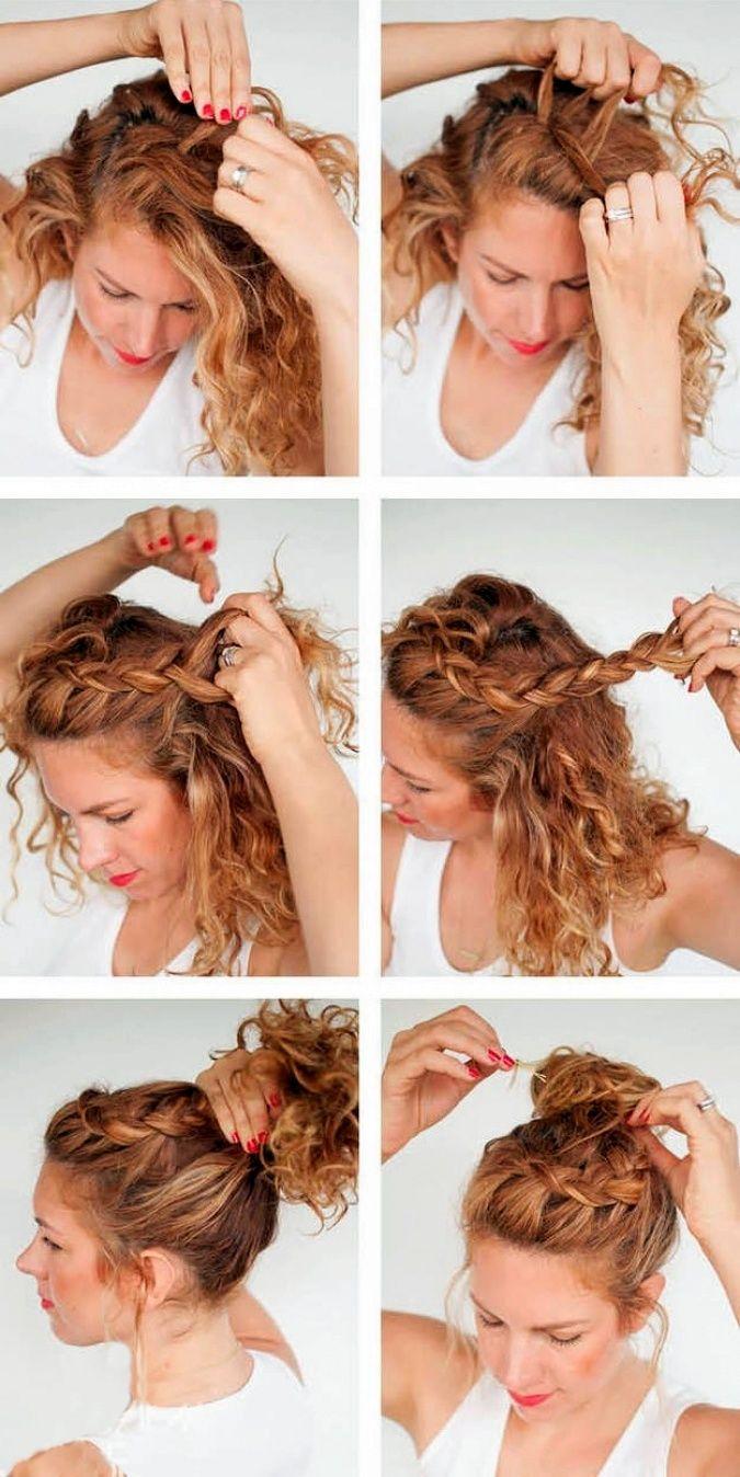 Красивые прически для кудрявых волос своими руками из 700