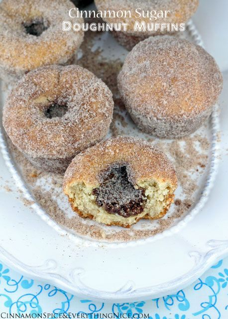 Cinnamon Sugar Doughnut Muffins w/ a cinnamon filling