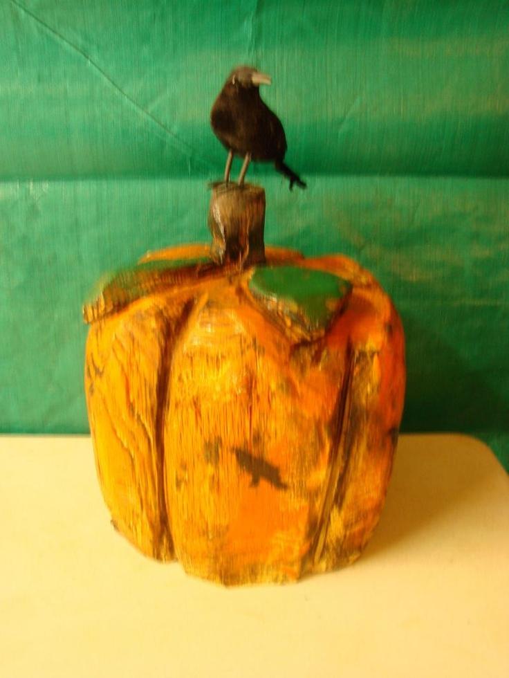 Chainsaw carved pumpkin log pinterest