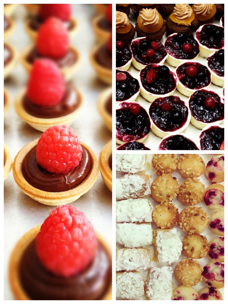 Chocolate & raspberry mini cakes, cheesecake mousse with blackforest ...
