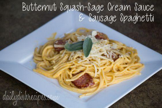 Squash Sage Cream Sauce with Sausage Spaghetti Title Butternut Squash ...