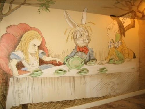 alice in wonderland mural unique mural wall art. Black Bedroom Furniture Sets. Home Design Ideas