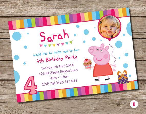 Peppa Pig Birthday Party Personalised Invitation Card Custom Invite J ...