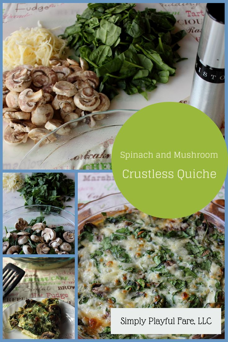Spinach and Mushroom Crustless Quiche #crustless #quiche