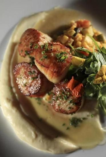 Dining Out: Seared scallops in parsnip puree and corn veloute with a ...