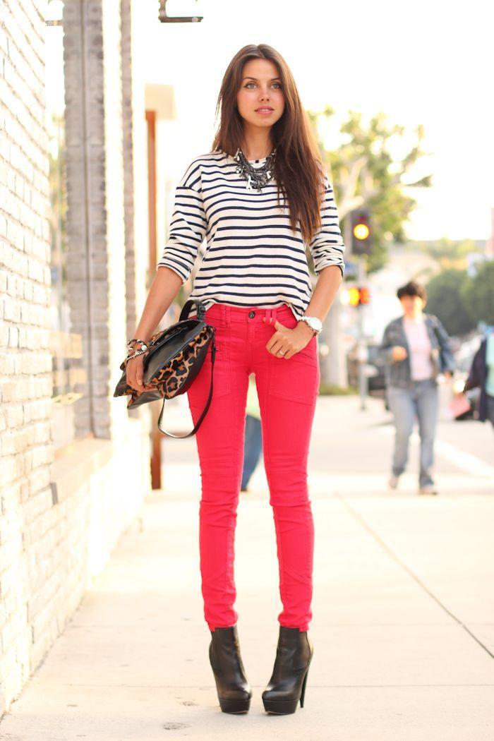 striped shirt, red jeans and animal print handbag