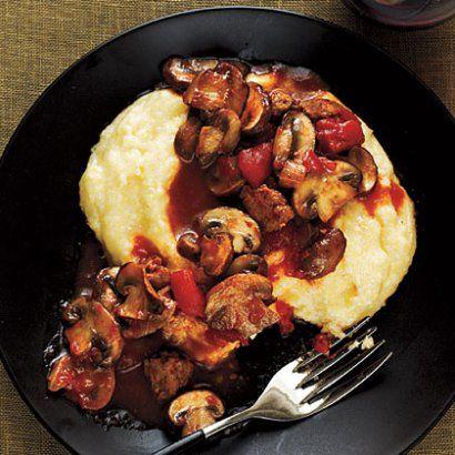 Skinny Italian! Mushroom and Sausage Ragu with Polenta (Cooking Light)