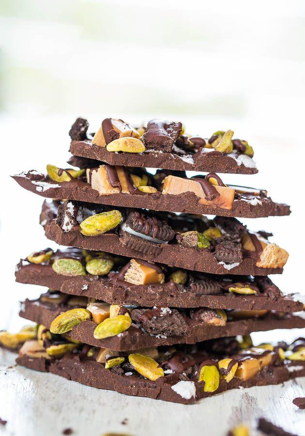 Pistachio, Salted Caramel & Oreo Dark Chocolate Bark - Salty-and-sweet ...