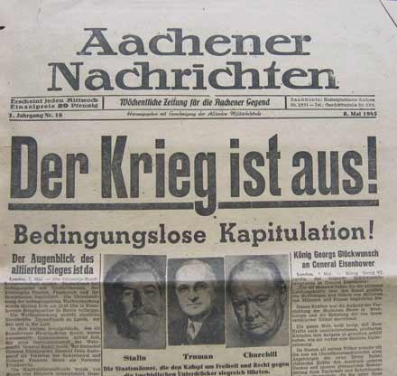 8. May 1945 - Capitulation of the Nazi Germany in German newspaper Aachener Nachrichten.