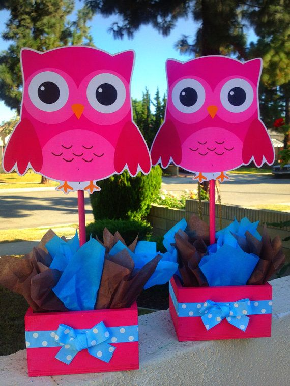 owl birthday baby shower baptism party wooden centerpieces on etsy