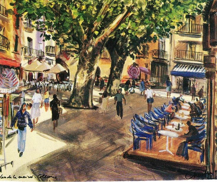 market place at collioure a painting by my old friend pierre chartron