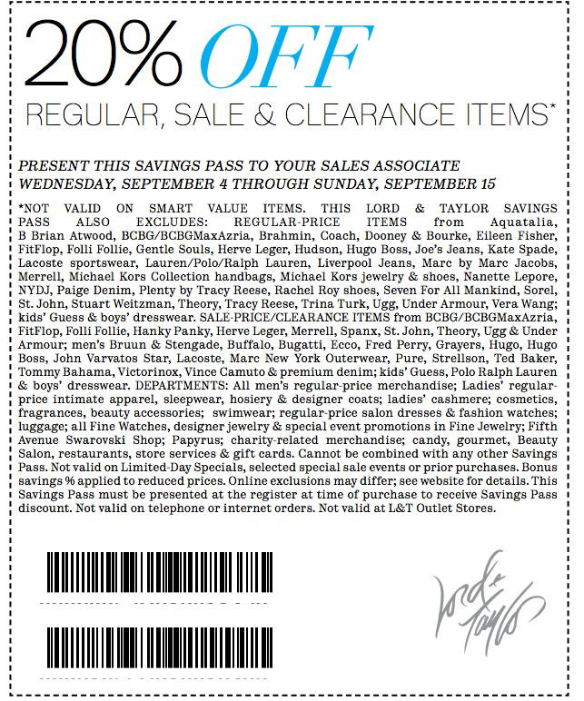 Lord and taylor printable coupon may 2018