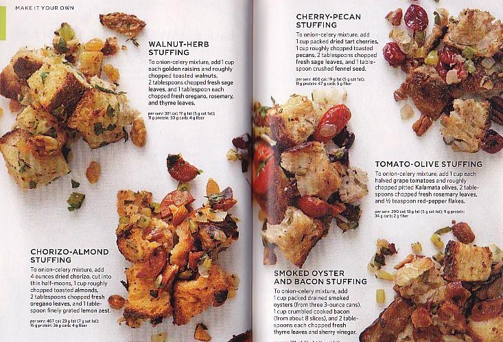 : Soyrizo-Almond Stuffing, Wanut-Herb Stuffing, Cherry-Pecan Stuffing ...