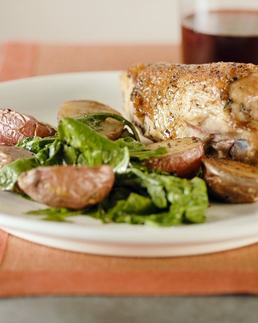 Roast Chicken with Potatoes and Arugula | Recipe