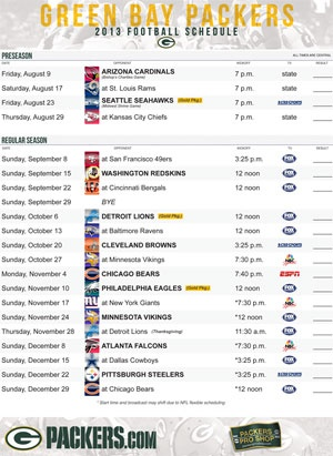 Green Bay Packers 2013-2014 schedule