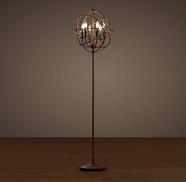"Foucault's Iron Orb Floor Lamp Rustic Iron $695 19"" diam, 70 high"