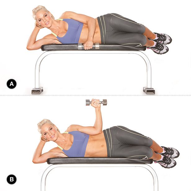 Lying Rotation(strengthens rotator cuff)- Lie on your right side with a light dumbbell in your left hand, upper arm tight to your side with your hand pointing toward the ground, elbow bent at 90 degrees [A]. Keeping contact between your body and your upper arm, slowly rotate your shoulder until your forearm is perpendicular to the ground [B]. Maintain a 90-degree angle in your elbow as you move. Slowly lower and return to the start. Repeat, and when your set is finished, lie on your left side...
