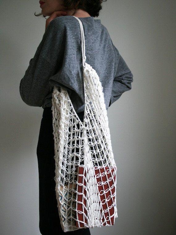Crochet Net Bag : Hand crochet market bag net bag shopping bag in by GunayKulbay, $80.00