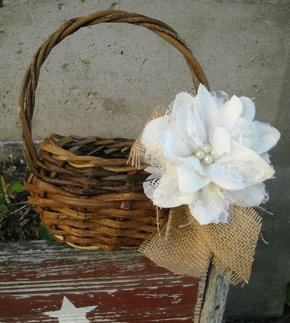 Rustic Burlap Flower Girl Baskets : Flower girl basket burlap wedding rustic