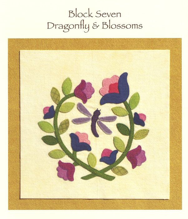 Block 7 - 'Dragonfly & Blossoms ' - Brandywine Designs