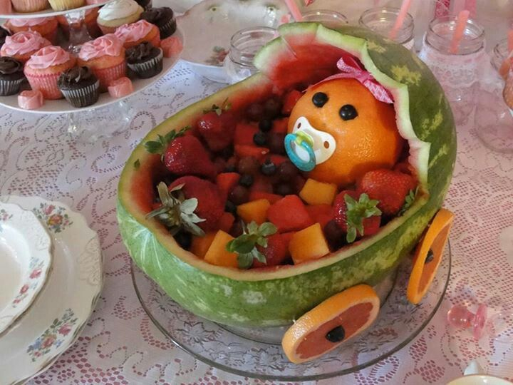 watermelon baby carriage cake ideas and designs