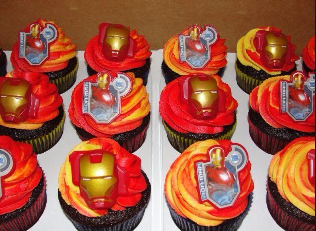 Ironman superhero birthday cupcake