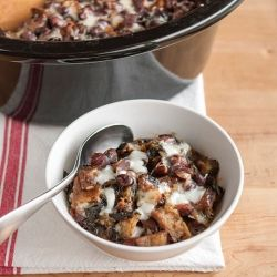 Slow Cooker Recipe: Cheesy Panade with Swiss Chard, Beans & Sausage