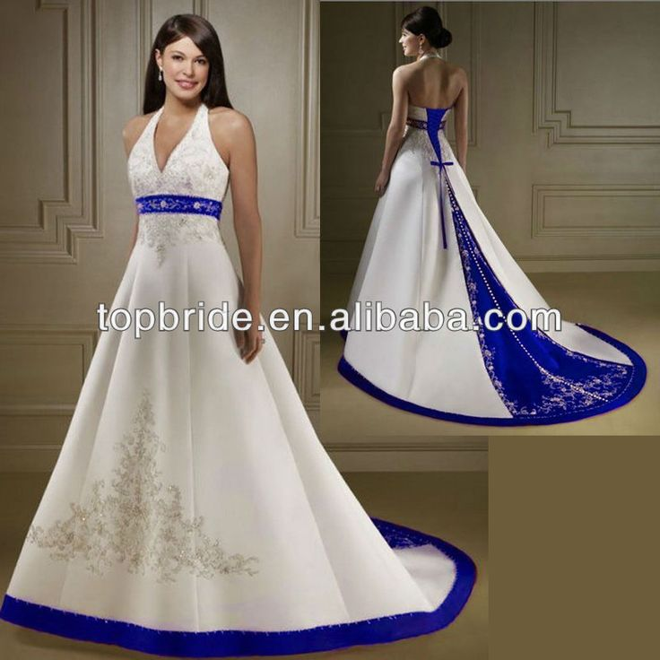 Wedding Dresses In Royal Blue : Train royal blue and white wedding dresses