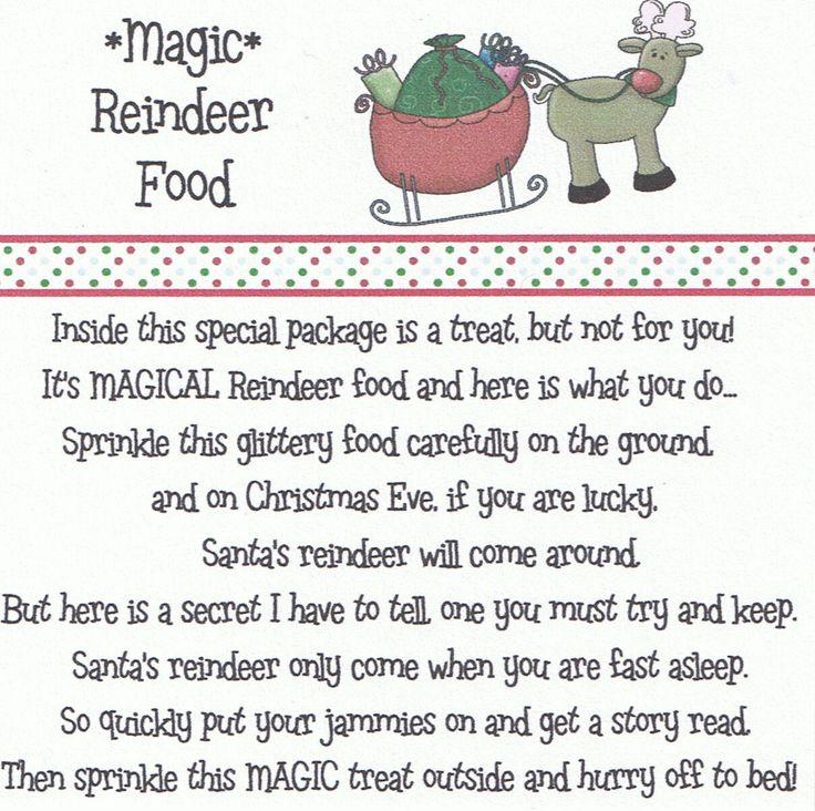 Reindeer food poem google search christmas pinterest