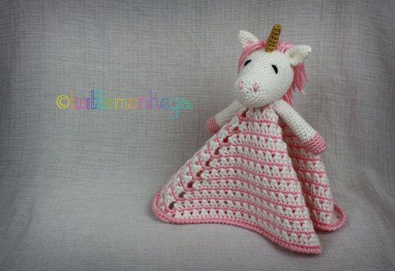 Unicorn Lovey Blanket Crochet Security Blanket by TwittleMonkeys, $30 ...