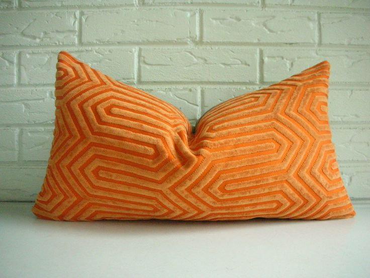 Mid Century Lumbar Pillow : Orange Designer Throw Pillow Cover - Mid Century Modern Throw Pillow - Orange Geometric Pattern ...