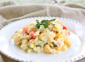 ... rich and creamy risotto dish with fresh corn, tomatoes, and basil