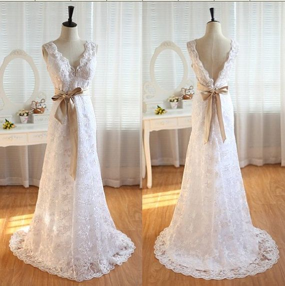 Simple Long Lace Wedding Dress Sleeveless V Neck Backless