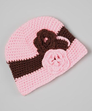 Take a look at this Light Pink & Brown Flower Crochet Beanie by Sweet